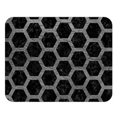 Hexagon2 Black Marble & Gray Leather Double Sided Flano Blanket (large)