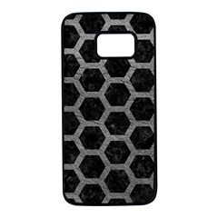 Hexagon2 Black Marble & Gray Leather Samsung Galaxy S7 Black Seamless Case