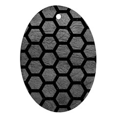 Hexagon2 Black Marble & Gray Leather (r) Ornament (oval)