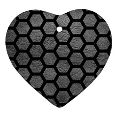 Hexagon2 Black Marble & Gray Leather (r) Ornament (heart)