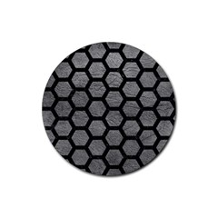 Hexagon2 Black Marble & Gray Leather (r) Rubber Coaster (round)