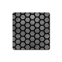 Hexagon2 Black Marble & Gray Leather (r) Square Magnet