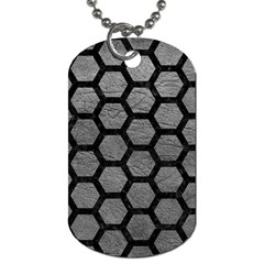 Hexagon2 Black Marble & Gray Leather (r) Dog Tag (two Sides)