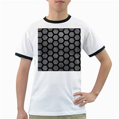 Hexagon2 Black Marble & Gray Leather (r) Ringer T Shirts