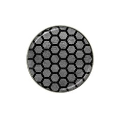 Hexagon2 Black Marble & Gray Leather (r) Hat Clip Ball Marker (10 Pack)