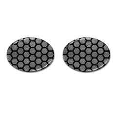 Hexagon2 Black Marble & Gray Leather (r) Cufflinks (oval)