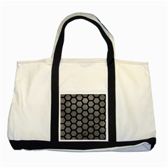 Hexagon2 Black Marble & Gray Leather (r) Two Tone Tote Bag