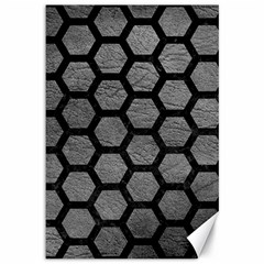 Hexagon2 Black Marble & Gray Leather (r) Canvas 12  X 18