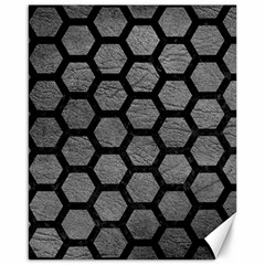 Hexagon2 Black Marble & Gray Leather (r) Canvas 16  X 20