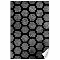 Hexagon2 Black Marble & Gray Leather (r) Canvas 24  X 36
