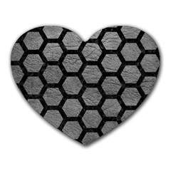 Hexagon2 Black Marble & Gray Leather (r) Heart Mousepads