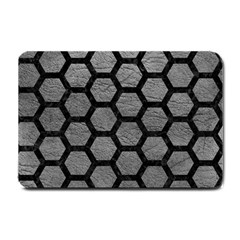 Hexagon2 Black Marble & Gray Leather (r) Small Doormat