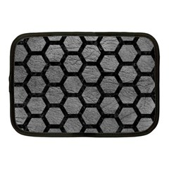 Hexagon2 Black Marble & Gray Leather (r) Netbook Case (medium)