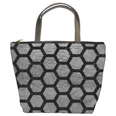 Hexagon2 Black Marble & Gray Leather (r) Bucket Bags