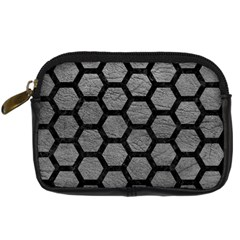 Hexagon2 Black Marble & Gray Leather (r) Digital Camera Cases