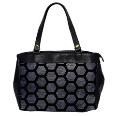 Hexagon2 Black Marble & Gray Leather (r) Office Handbags