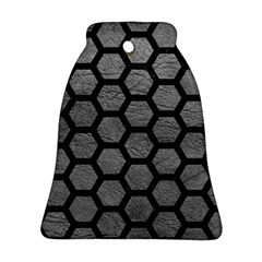 Hexagon2 Black Marble & Gray Leather (r) Ornament (bell)