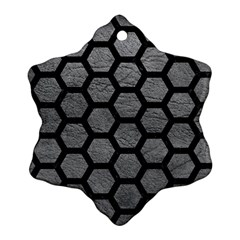 Hexagon2 Black Marble & Gray Leather (r) Snowflake Ornament (two Sides)
