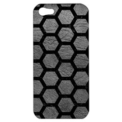Hexagon2 Black Marble & Gray Leather (r) Apple Iphone 5 Hardshell Case
