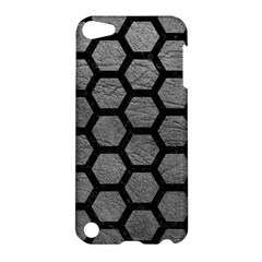Hexagon2 Black Marble & Gray Leather (r) Apple Ipod Touch 5 Hardshell Case