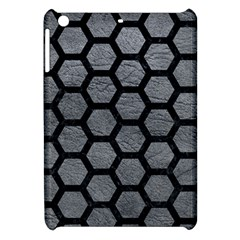Hexagon2 Black Marble & Gray Leather (r) Apple Ipad Mini Hardshell Case