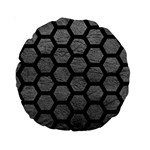 HEXAGON2 BLACK MARBLE & GRAY LEATHER (R) Standard 15  Premium Round Cushions Front