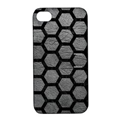 Hexagon2 Black Marble & Gray Leather (r) Apple Iphone 4/4s Hardshell Case With Stand
