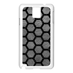 Hexagon2 Black Marble & Gray Leather (r) Samsung Galaxy Note 3 N9005 Case (white)