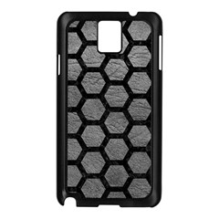 Hexagon2 Black Marble & Gray Leather (r) Samsung Galaxy Note 3 N9005 Case (black)