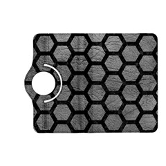 Hexagon2 Black Marble & Gray Leather (r) Kindle Fire Hd (2013) Flip 360 Case