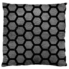Hexagon2 Black Marble & Gray Leather (r) Large Flano Cushion Case (one Side)