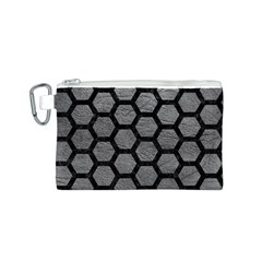 Hexagon2 Black Marble & Gray Leather (r) Canvas Cosmetic Bag (s)