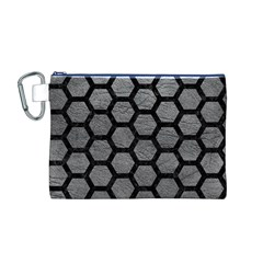 Hexagon2 Black Marble & Gray Leather (r) Canvas Cosmetic Bag (m)