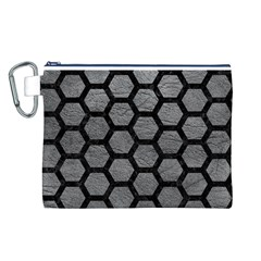 Hexagon2 Black Marble & Gray Leather (r) Canvas Cosmetic Bag (l)