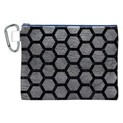 Hexagon2 Black Marble & Gray Leather (r) Canvas Cosmetic Bag (xxl)