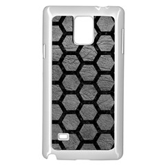 Hexagon2 Black Marble & Gray Leather (r) Samsung Galaxy Note 4 Case (white)