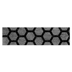 Hexagon2 Black Marble & Gray Leather (r) Satin Scarf (oblong)