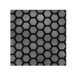 Hexagon2 Black Marble & Gray Leather (r) Small Satin Scarf (square)