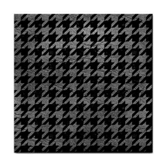 Houndstooth1 Black Marble & Gray Leather Tile Coasters