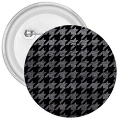 Houndstooth1 Black Marble & Gray Leather 3  Buttons