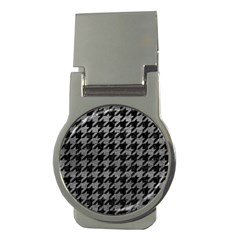 Houndstooth1 Black Marble & Gray Leather Money Clips (round)