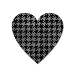 Houndstooth1 Black Marble & Gray Leather Heart Magnet