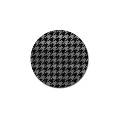 Houndstooth1 Black Marble & Gray Leather Golf Ball Marker (4 Pack)