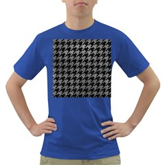 Houndstooth1 Black Marble & Gray Leather Dark T Shirt