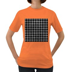 Houndstooth1 Black Marble & Gray Leather Women s Dark T Shirt