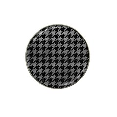 Houndstooth1 Black Marble & Gray Leather Hat Clip Ball Marker (10 Pack)