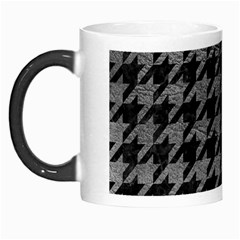 Houndstooth1 Black Marble & Gray Leather Morph Mugs