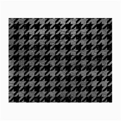 Houndstooth1 Black Marble & Gray Leather Small Glasses Cloth