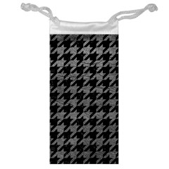 Houndstooth1 Black Marble & Gray Leather Jewelry Bag