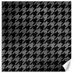 Houndstooth1 Black Marble & Gray Leather Canvas 12  X 12